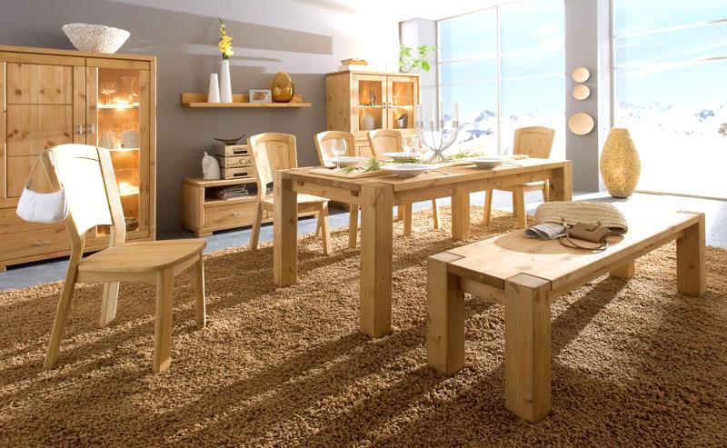 Massivholzmöbel - Esszimmermöbel Kiefer massiv Holz - Sitzbank Holzstuhl Vitrine Esstisch Sideboard