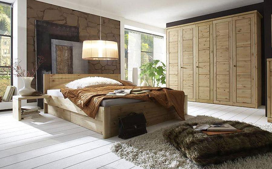 Schlafzimmer komplett Massivholzmöbel Kate - Kiefer massiv Oberfläche gelaugt