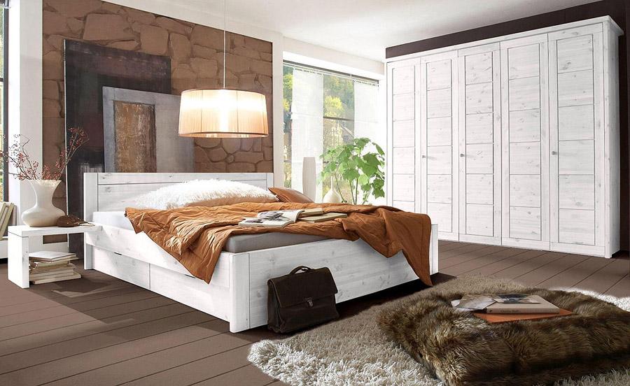 Massivholzmöbel Schlafzimmer komplett weiss Kate Kiefer massiv