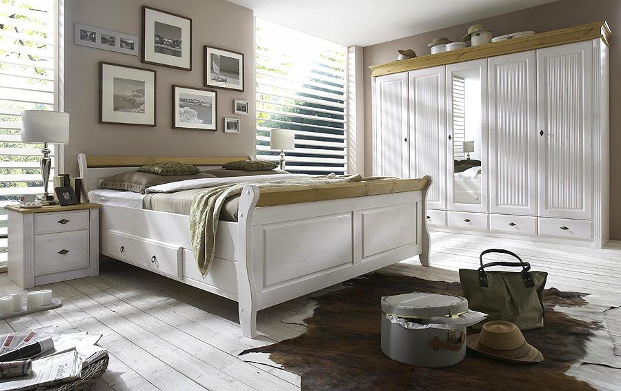 Schlafzimmer weiss Kiefer - komplett - Massivholz-Möbel in