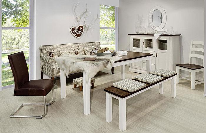 Esszimmer komplett weiß kolonial mit Bauernsofa - Tischsofa