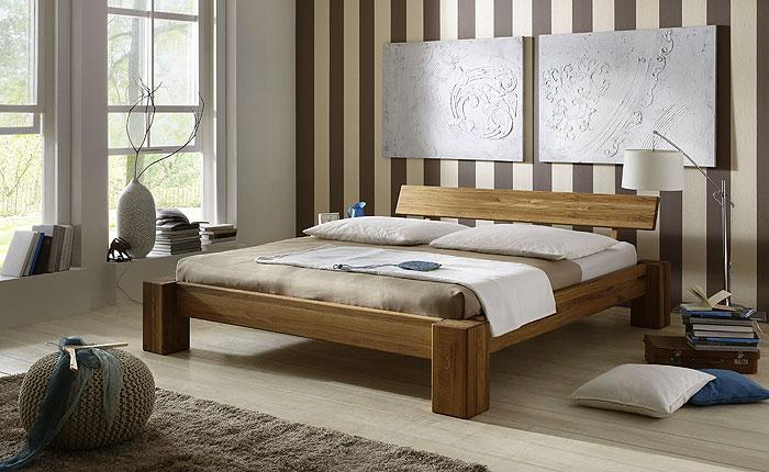 Balkenbett aus Wildeiche massiv - Oberfläche geölt - 180 x 200