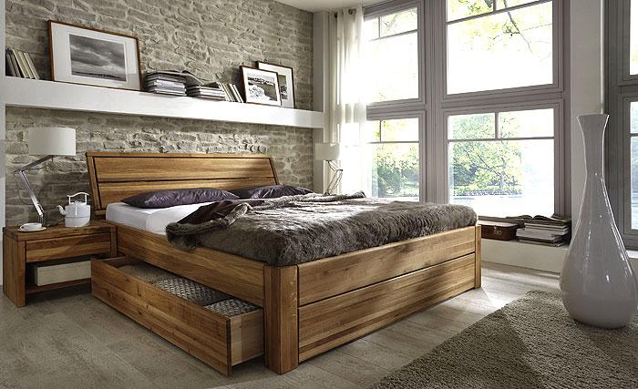 Funktionsbett - Bett mit Schubladen - Kernbuche massiv Holz - 180 x 200cm