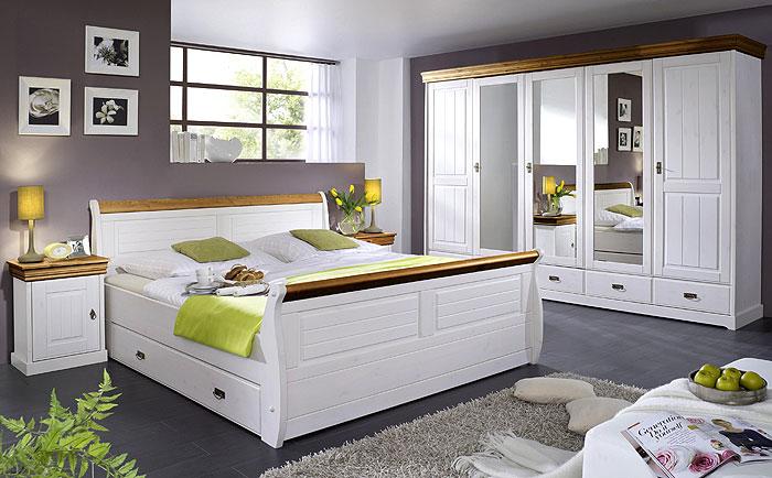 Schlafzimmer ROM - Kiefer Massivholz - weiß honig