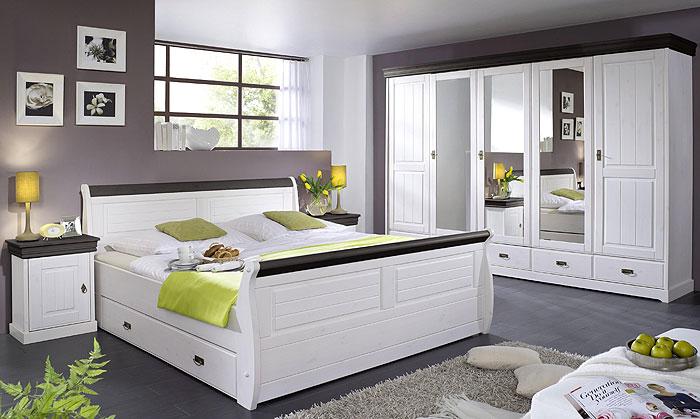 Schlafzimmer Neapel - Kiefer Massivholz - weiß kolonial abgesetzt