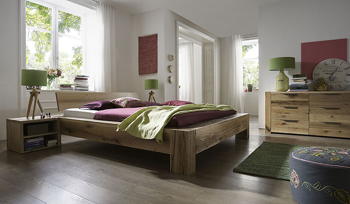 Balkenbett Sumpfeiche Oberfläche geölt - massiv Holz