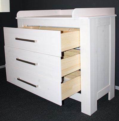 Emma - Wickeltisch weiß Schubladenansicht - Kiefer massiv Holz