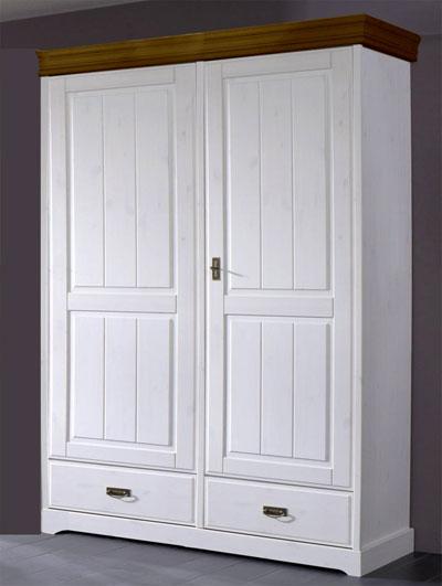 Kleiderschrank 2türig - Kiefer Massivholz - weiß honig