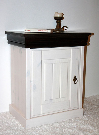 Nachttisch weiß kolonial - Kiefer Massivholz