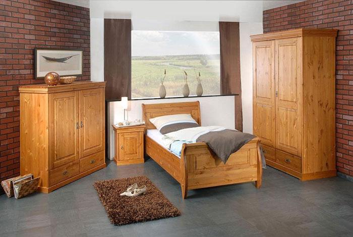 Roland II Schlafzimmer Kiefer massiv - Massivholz-Möbel in