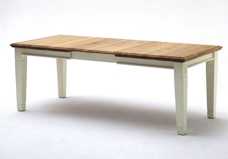 Ausziehtisch Nordic Home Kiefer Wildeiche massiv Holz cremeweiß gelaugt Gomab