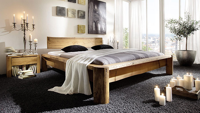 Balkenbett Tundra Kiefer Fichte massiv Holz gewachst SC-Koks