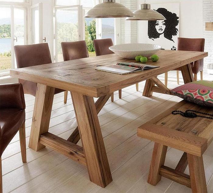 Balkentisch Wildeiche massiv Holz geölt - Firenze Bodahl Moebler