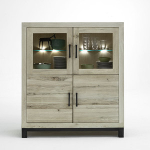 Massivholz Highboard Eiche sand