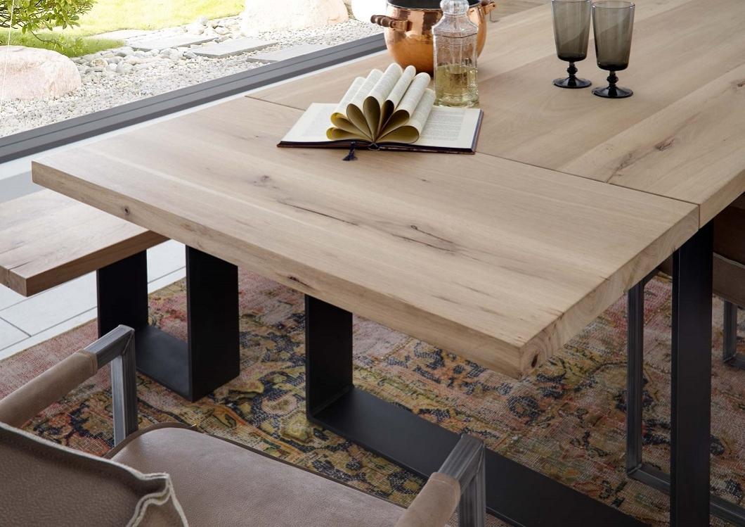 Massivholz Esstisch mit Zusatzplatte