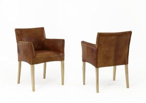 Echtholz Stuhl Antikleder braun Vintage Look