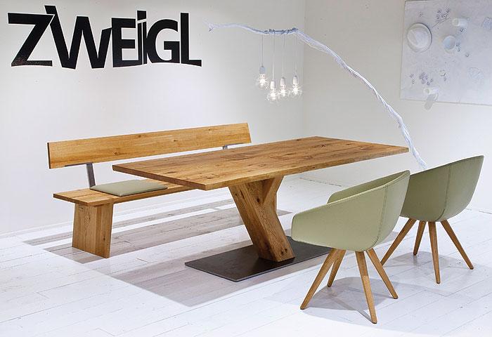 Baumtisch Zweigl Asteiche massiv Holz geölt Wimmer Wohnkollektion