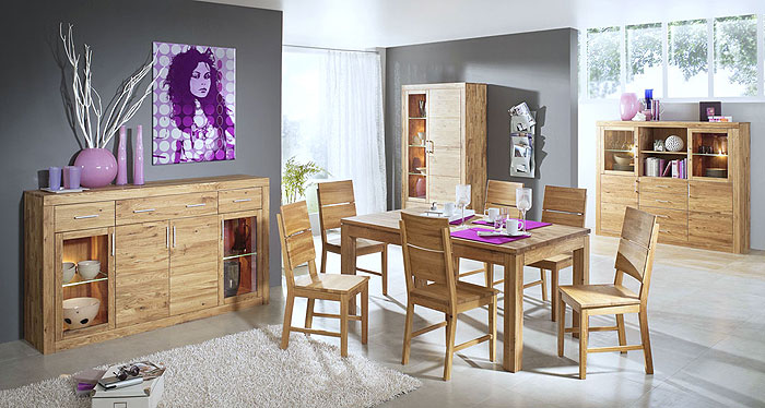 Esszimmer Set komplett Wildeiche massiv Holz - Jale 3s Frankenmöbel