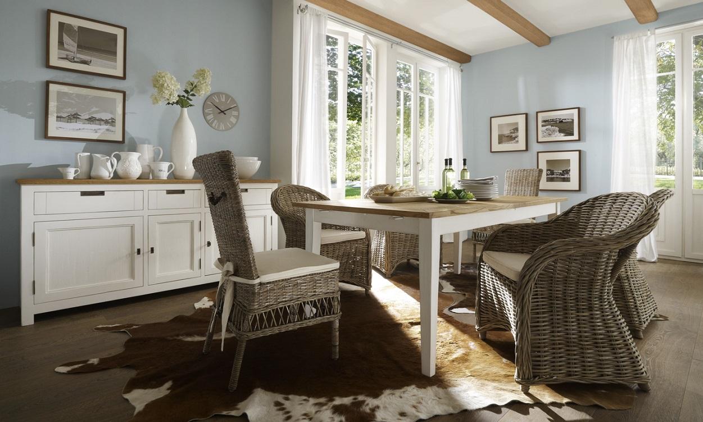 Speisezimmer Massivholz Landhaus weiß