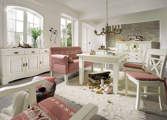 Esszimmer Komplett Set Paris Landhausstil champagner lackiert Kiefer massiv Holz Gomab