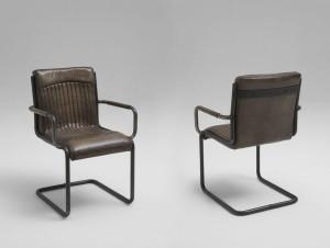 Freischwinger Stuhl Leder braun Vintage Look