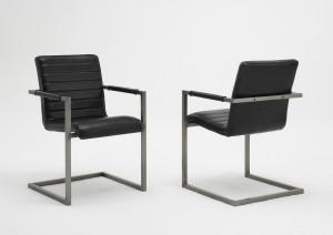 Freischwinger Stuhl Leder schwarz