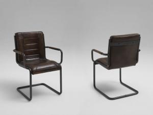 Freischwinger Stuhl mit Armlehne Leder braun