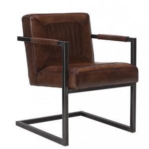 Freischwinger Stühle Büffelleder braun