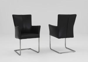 Freischwinger Stühle mit Armlehne Leder schwarz