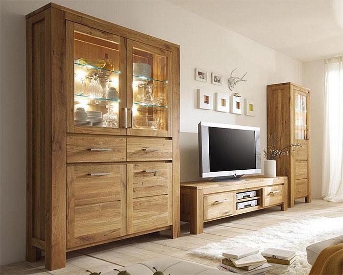 Massivum Wohnwand Asteiche massiv Holz geölt