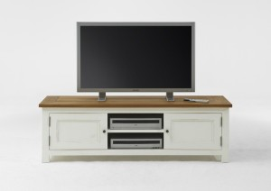 TV-Lowboard Landhaus weiß Massivholz