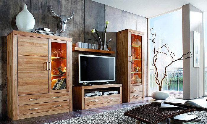 Wohnwand Kernbuche massiv Holz - Jale von 3S Frankenmöbel