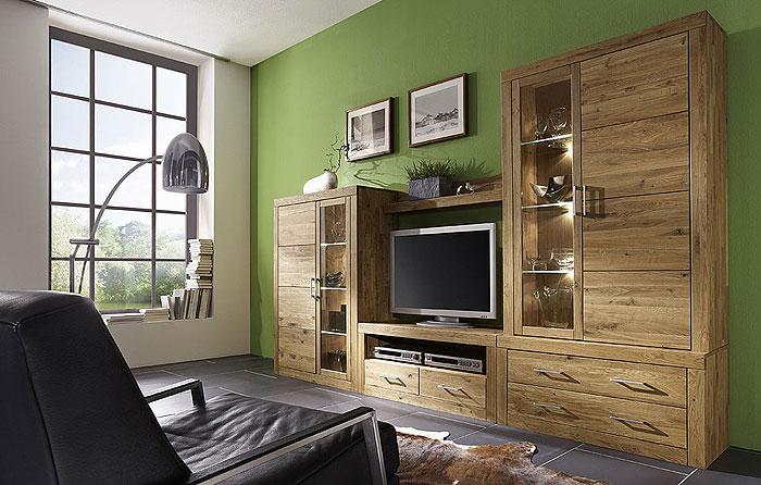Wohnwand aus Wildeiche - Jale von 3S Frankenmöbel - Oberfläche geölt