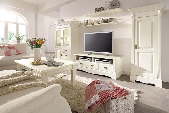 wohnzimmer set paris landhausstil kiefer massiv holz cremeweiss lackiert gomab