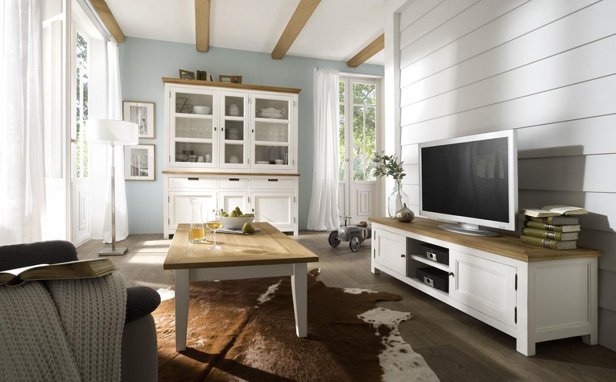 Wohnzimmer Landhausstil weiß Massivholz