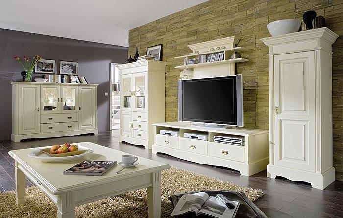 wohnzimmer komplett set kiefer massiv holz cremeweiss lackiert landhaustsil paris gomab