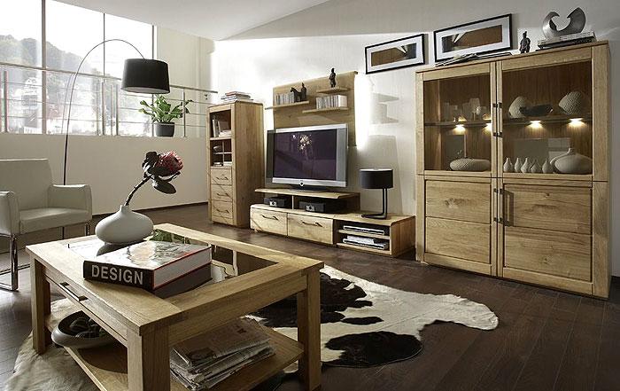 Wohnzimmer komplett Set Wildeiche massiv Holz Oxford Gomab