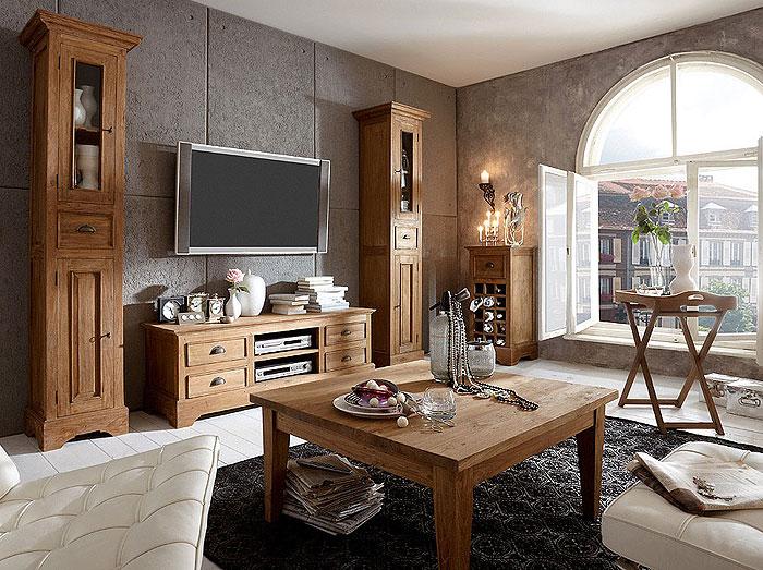 Wohnzimmermöbel Teakholz massiv Oberfläche unbehandelt