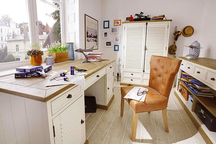 Arbeitszimmer Möbel massiv Pinie Wildeiche creme shabby