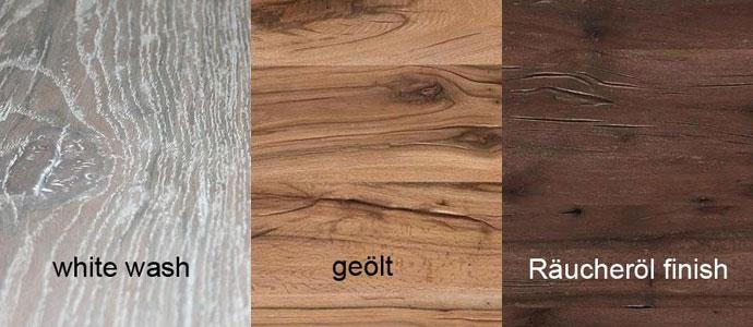 Mögliche Oberflächen für die Massivholzmöbel aus Balkeneiche
