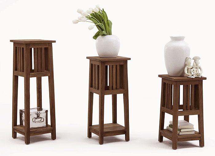 Blumenständer Set Teak Holz massiv Oberfläche unbehandelt