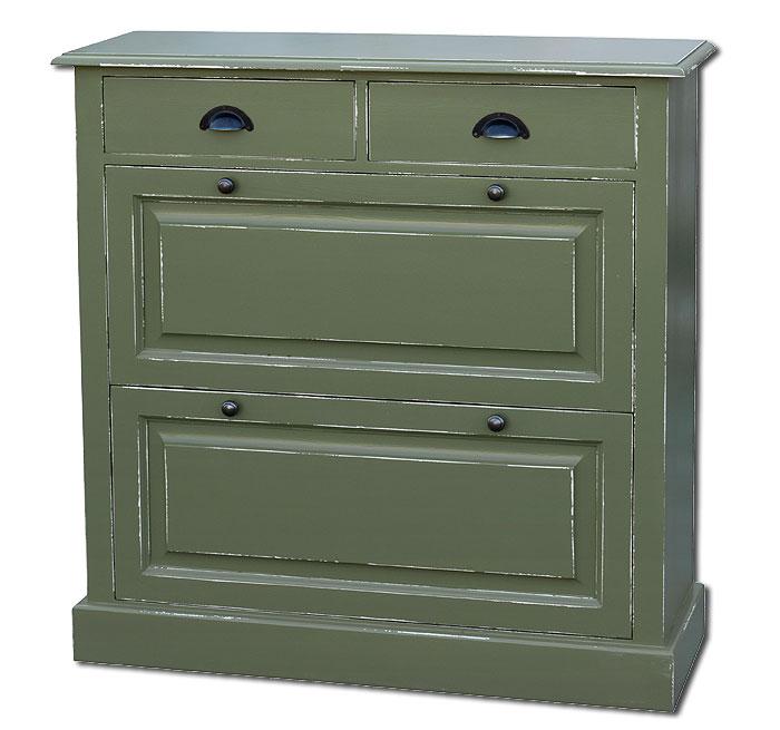 Bunte Möbel Schuhkommode Fichte massiv Holz weiß grün shabby