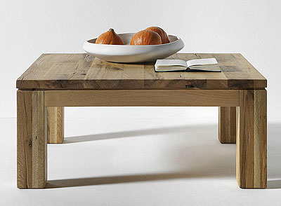 Couchtisch Balkeneiche massiv Holz Oberfläche geölt