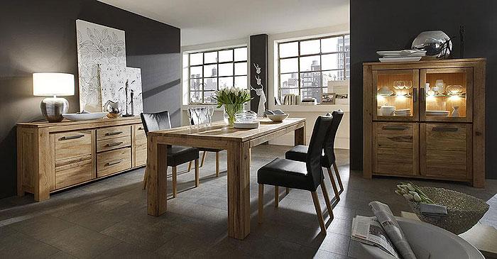 Esszimmer komplett Set Balkeneiche massiv Holz geölt - Samson