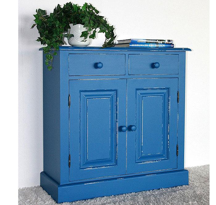 Kommode Fichte massiv Holz blau weiß shabby