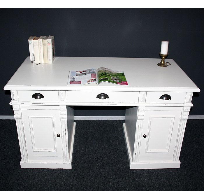 Schreibtisch Fichte massiv Holz braun weiß shabby