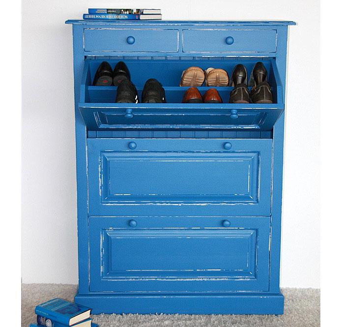 Schuhkommode Fichte massiv Holz blau weiss