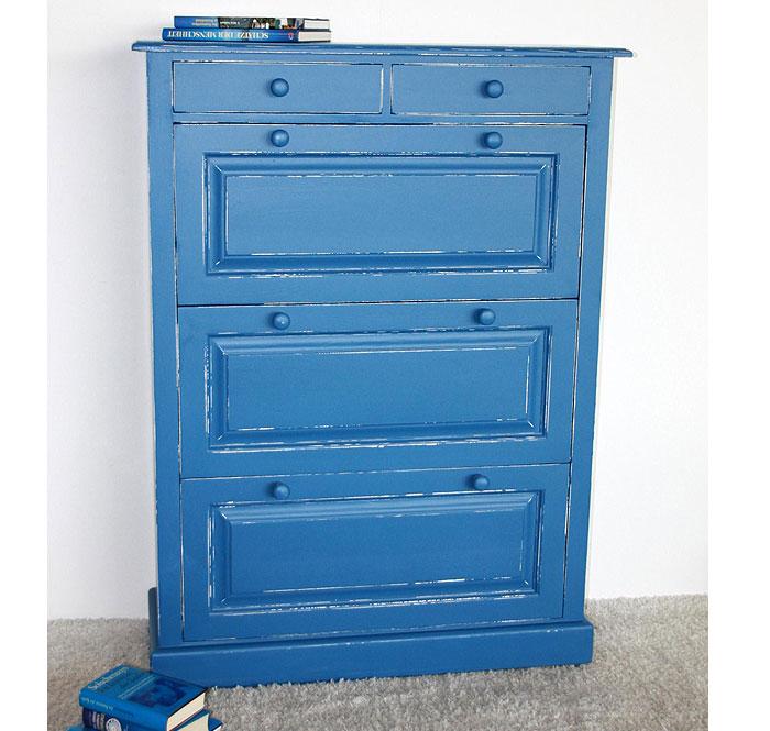 Schuhkipper 3 Klappen Fichte massiv Holz blau weiss shabby