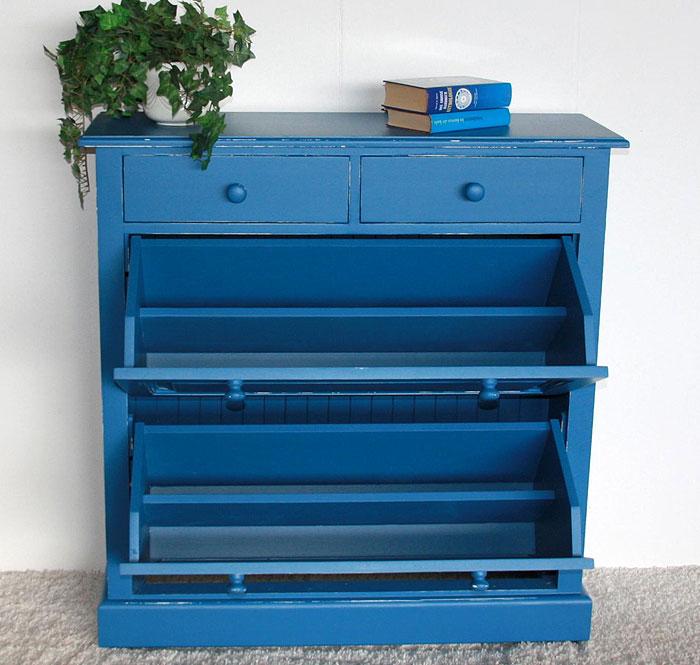 Schuhkommode Fichte massiv Holz blau weiß shabby Detailansicht