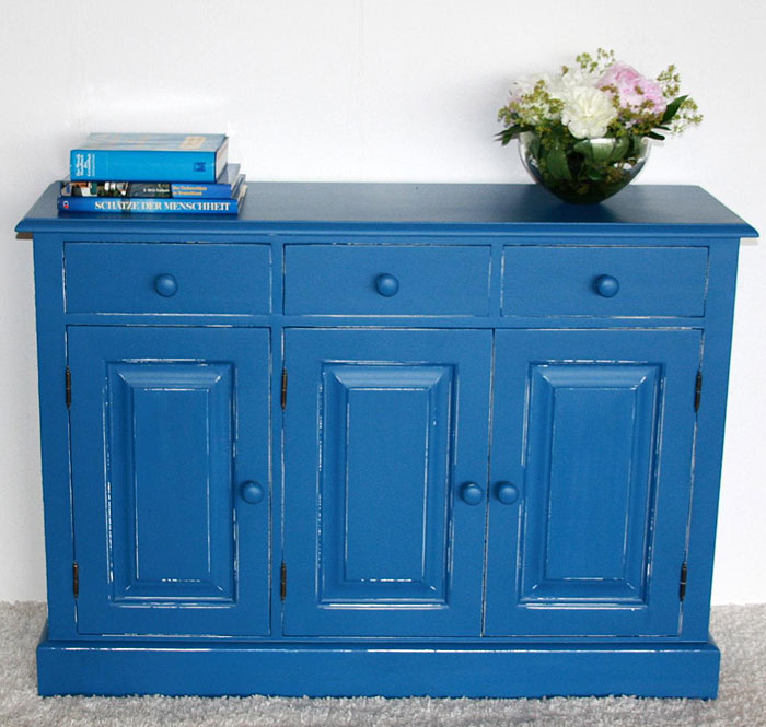 Sideboard Fichte massiv Holz blau weiß shabby